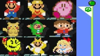 Super Mario Maker: All 153 Costume FLAGPOLE THEMES and Animations.(Mystery Mushroom Suits/Amiibos)
