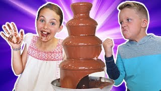 GIANT CHOCOLATE FOUNTAIN Game! Nutella, Gummy Candy, Funny Surprise Egg HUNT!