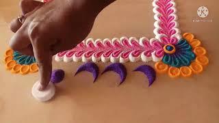 Unique diwali rangoli design  simple rangoli design  Easy diwali rangoli