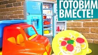 Пластилин Видео для Детей - Игрушечный холодильник и спагетти. Готовим вместе