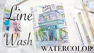 Watercolor Cute Little House - Line and Wash Urban Sketch Painting Illustration鋼筆淡彩 水彩畫可愛小房子 清新插畫教程