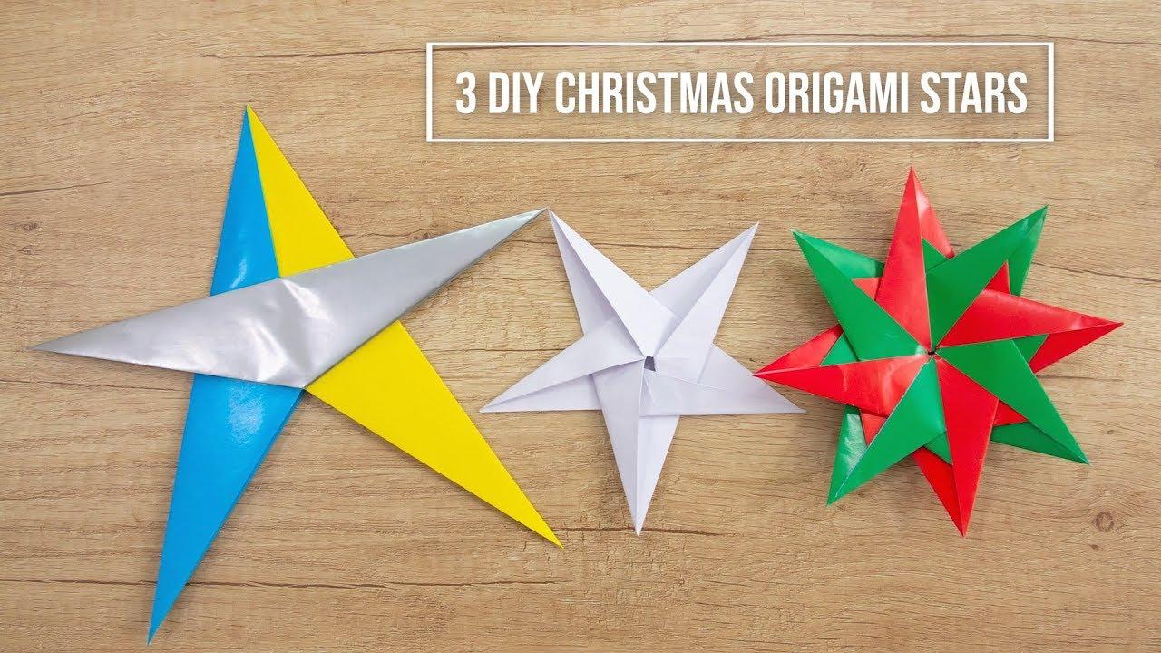 3 Diy Christmas Origami Stars