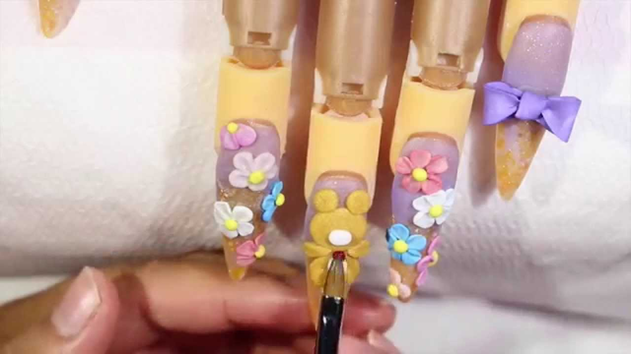 KAWAII NAILS with 3d acrylic teddy bear (English) - YouTube