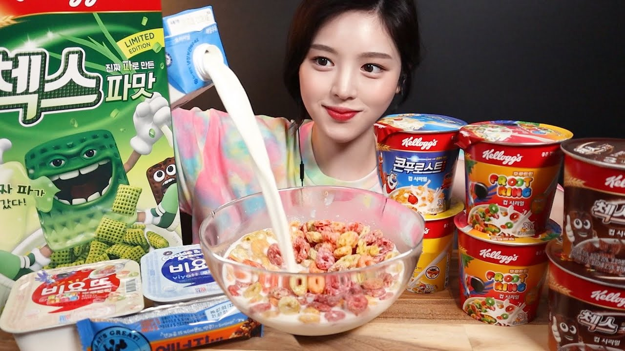 SUB)후루트링 첵스파맛 첵스초코 콘푸로스트 시리얼 먹방! 비요뜨 에너지바까지 리얼사운드 Cornflake Cereal yogurt mukbang ASMR
