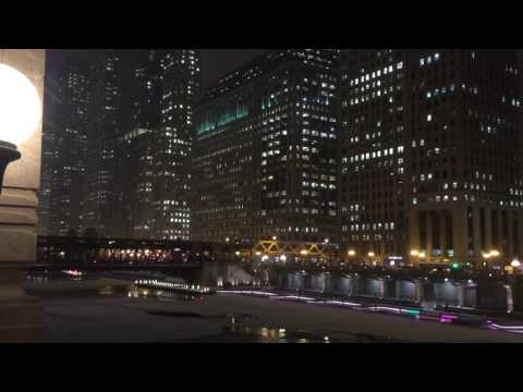 Merchandise Mart and Chicago River Walk in winter 2017