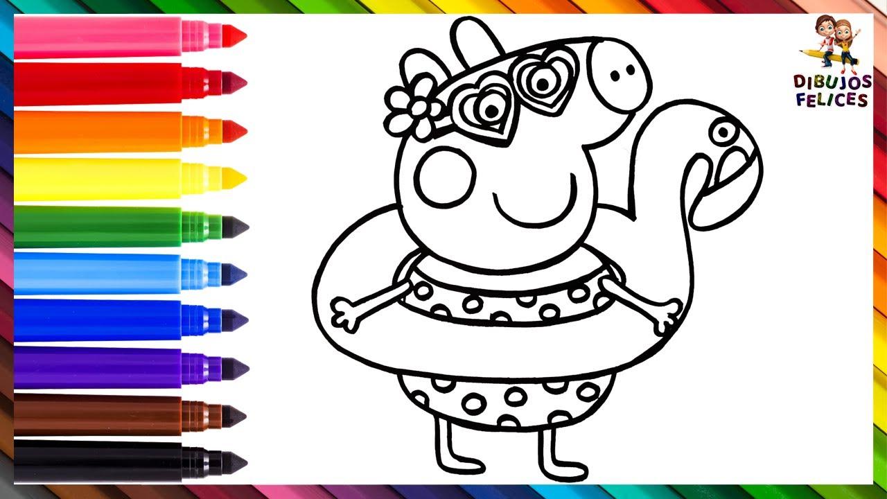 Dibuja y Colorea A Peppa Pig Usando Un Flotador De Flamenco 🐷💜🦩🏖️ Dibujos Para Niños