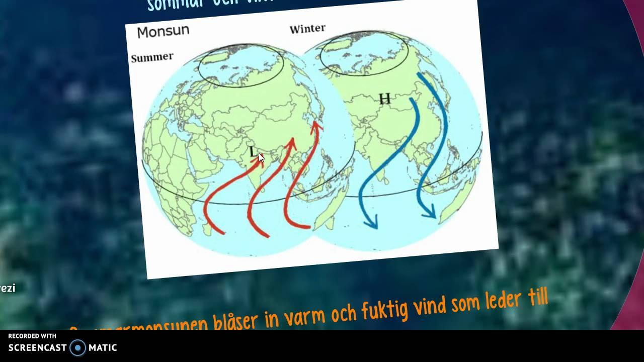 Väder, klimat/klimatförändringar 06 Monsun