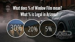 What does % of Window Film mean & What % is Legal in Arizona?