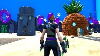BIKINI BOTTOM em Fortnite (eu realmente encontrei SpongeBob SquarePants)
