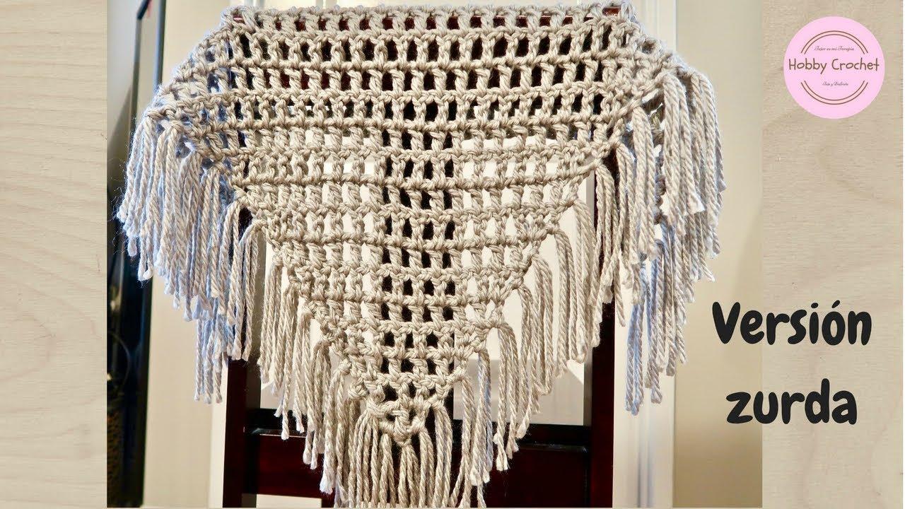 Chal triangular básico a crochet para principiantes, paso a paso ...