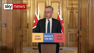 Michael Gove takes news conference after PM becomes infected