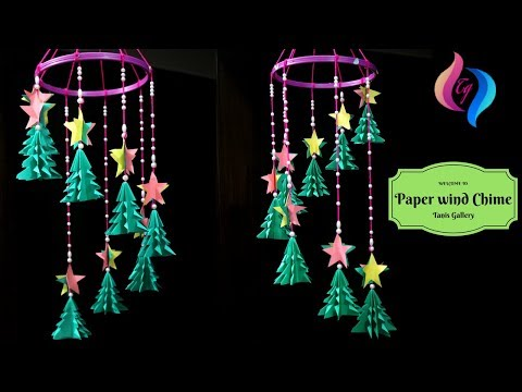 How to make wind chimes out of paper - Easy paper christmas decorations - Paper wind chimes craft