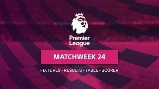 Premier League Matchweek 24 - Fixtures - Table - Top Scorers