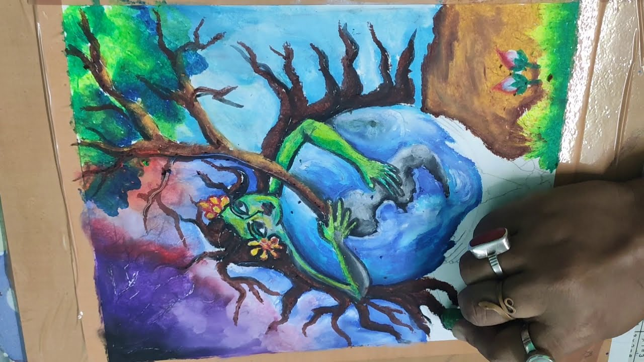"""How to Draw""""SAVE TREES SAVE ENVIRONMENT"""" Painting Step By Step"""