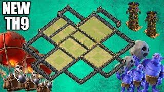 NEW TH9 BEST WAR BASE (Layout) New Defense Base Anti 3 💯 | 2019 :: Clash of Clans