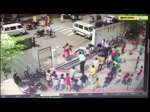 Surat: Two school boy injured after school gate collapses on
