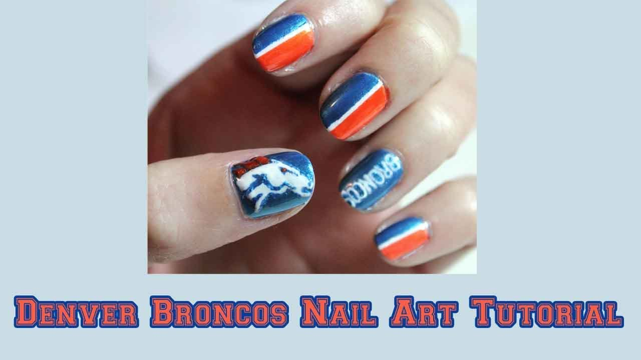 Denver Broncos Nail Art Tutorial 🏈 - YouTube
