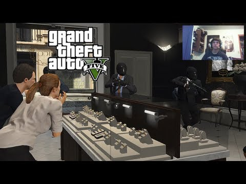 "GTA V Part 5 ""Jewelry Heist "" Live Gameplay w/ Facecam (Grand Theft Auto V Let's Play / Walkthrough)"