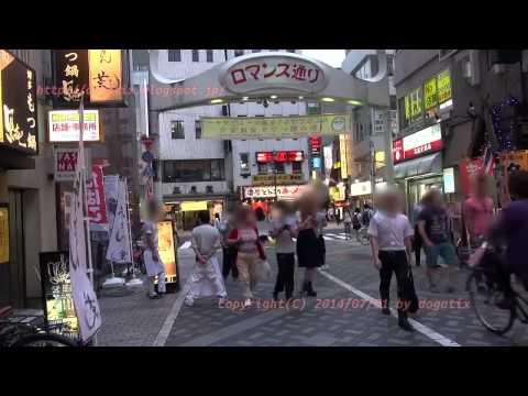 Japan Trip 2014 Tokyo at dusk Walking Ikebukuro Station North exit to Entertainment district