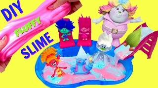 DIY Making Trolls Movie Poppy Pink and Branch Blue Fluffy Slime
