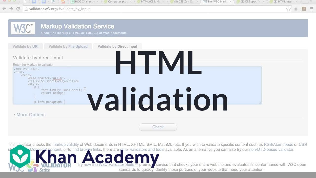 HTML validation | Computer programming | Khan Academy - YouTube