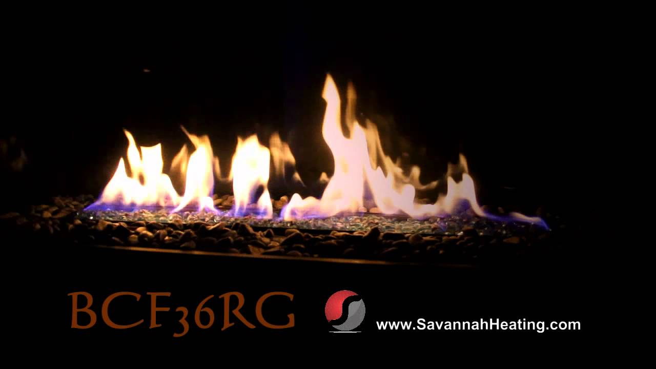 bcf36 rock and glass flame video gas fireplace youtube
