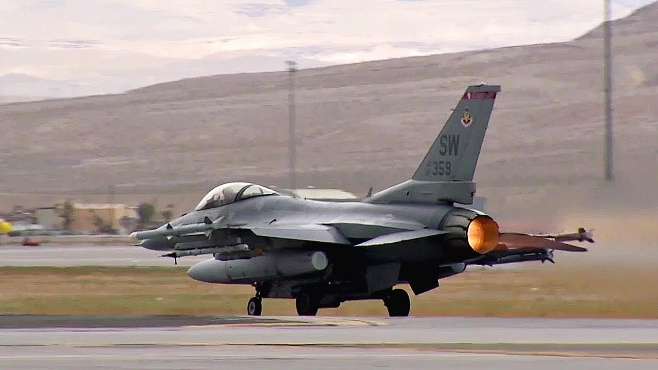Fighter Jets Take-Off From Nellis Air Force Base: F-16C ...