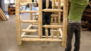 The Log Furniture Store's Full Queen Log Bunk Bed Assembly