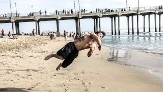 16 Year Old Beast: Sage Vito Raw Uncut Huntington Beach (Double Backflip, tricking)