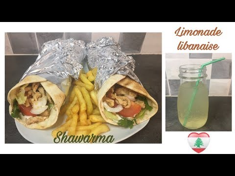 recette-du-poulet-shawarma-accompagnée-d'une-boisson-libanaise-🌯🍹🇱🇧