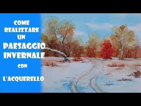 TUTORIAL: Come Disegnare Un PAESAGGIO  Invernale Ad Acquerello/ NATALE  La Neve /РИСУЕМ Зимa