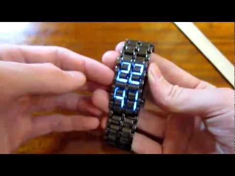 Reloj de pulsera electr nico para hombre con leds azules - Reloj adhesivo de pared ...