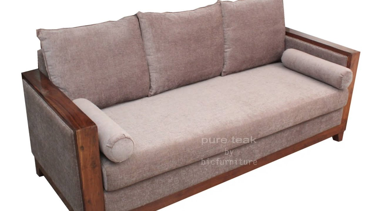 Teak wood sofa set for living room with comfortable angles visit