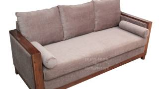 Teak Wood Sofa Set For Living Room With Comfortable Angles | Visit Furniture Store