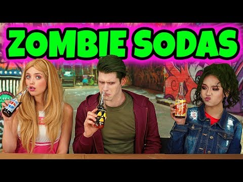 DISNEY ZOMBIES SODA CHALLENGE. ADDISON VS ZED VS ELIZA. (Totally TV Dress Up Characters)