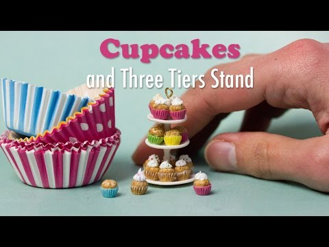 Miniature Cupcakes and Three Tiers Stand Tutorial // Dollhouse Food