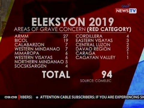 Mga lugar na nasa areas of grave concern, dumami ngayong Eleksyon 2019