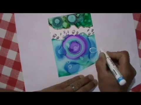 Yupo paper card with alcohol inks and stamps from design by rhyn