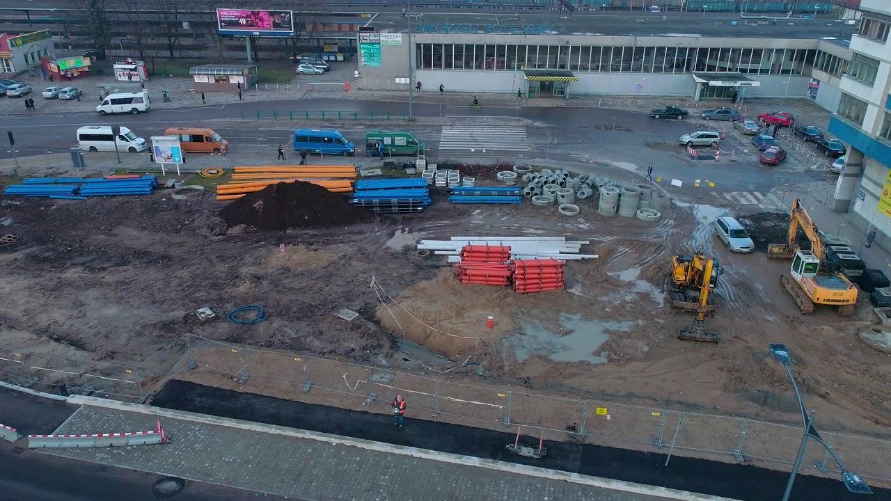 Budowa węzła przesiadkowego przy olsztyńskim dworcu – luty 2018 r.