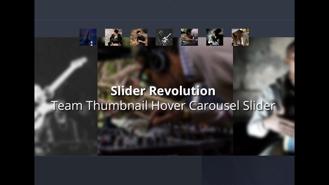 Slider Revolution 5, Team Thumbnail Hover Carousel Slider