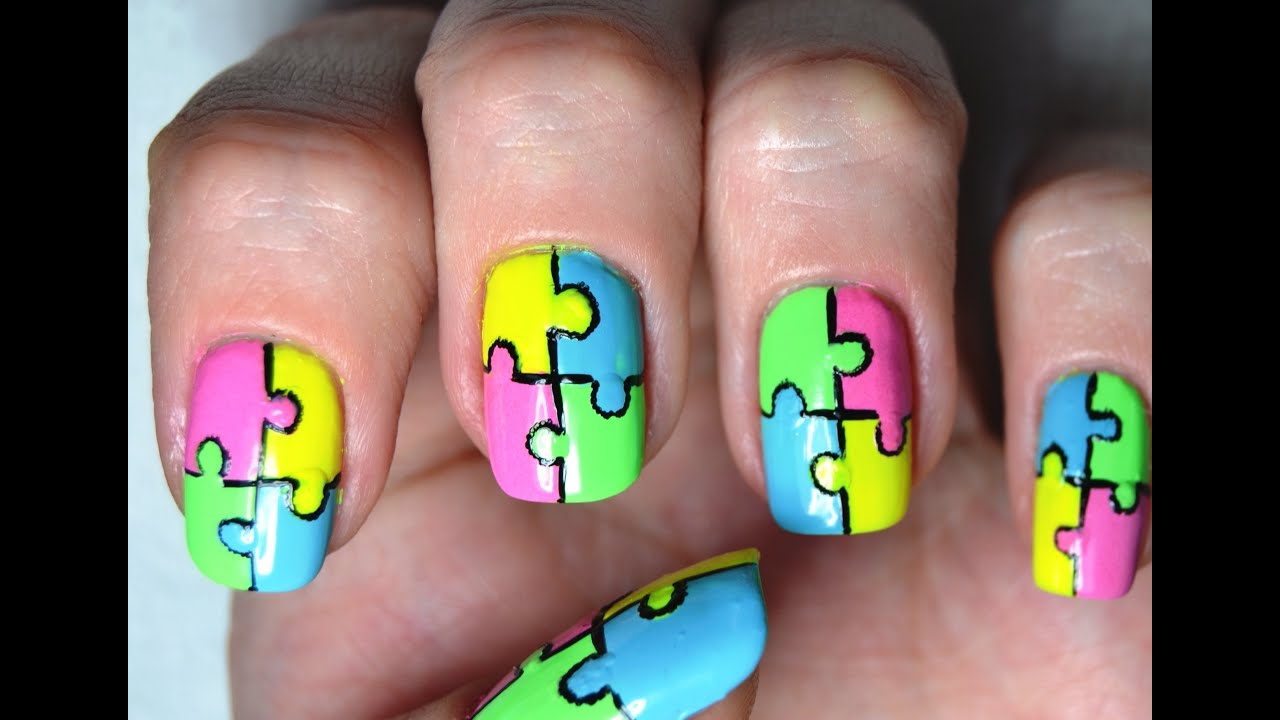 Neon Puzzle Nail Art Tutorial - YouTube