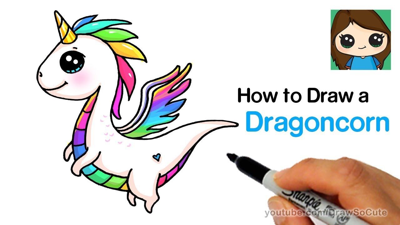 How To Draw A Dragon Unicorn Dragoncorn Youtube