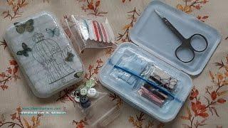 Costurero de viaje con materiales reciclados