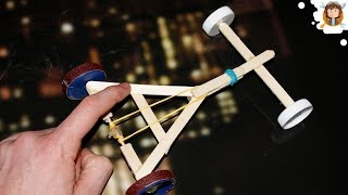 How To Make A Rubber Band Powered Car -( Homemade Toy)