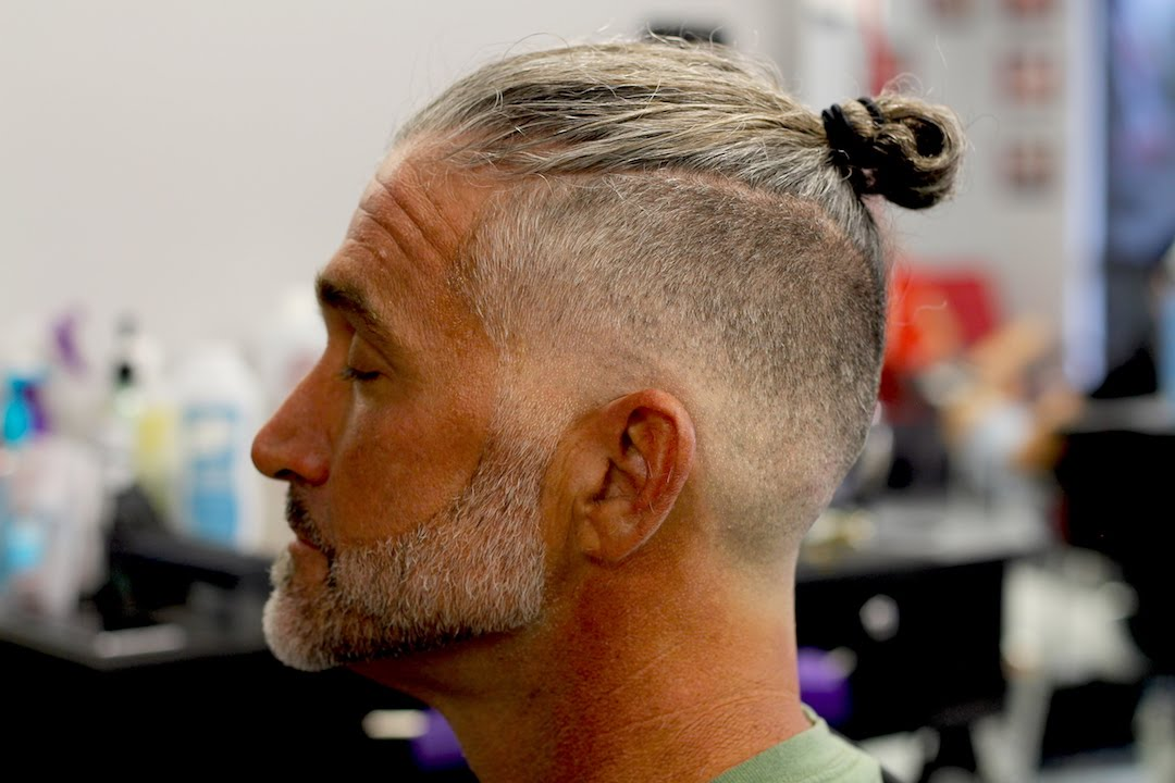 Man bun with baldskin fade with beard step by step how to  YouTube