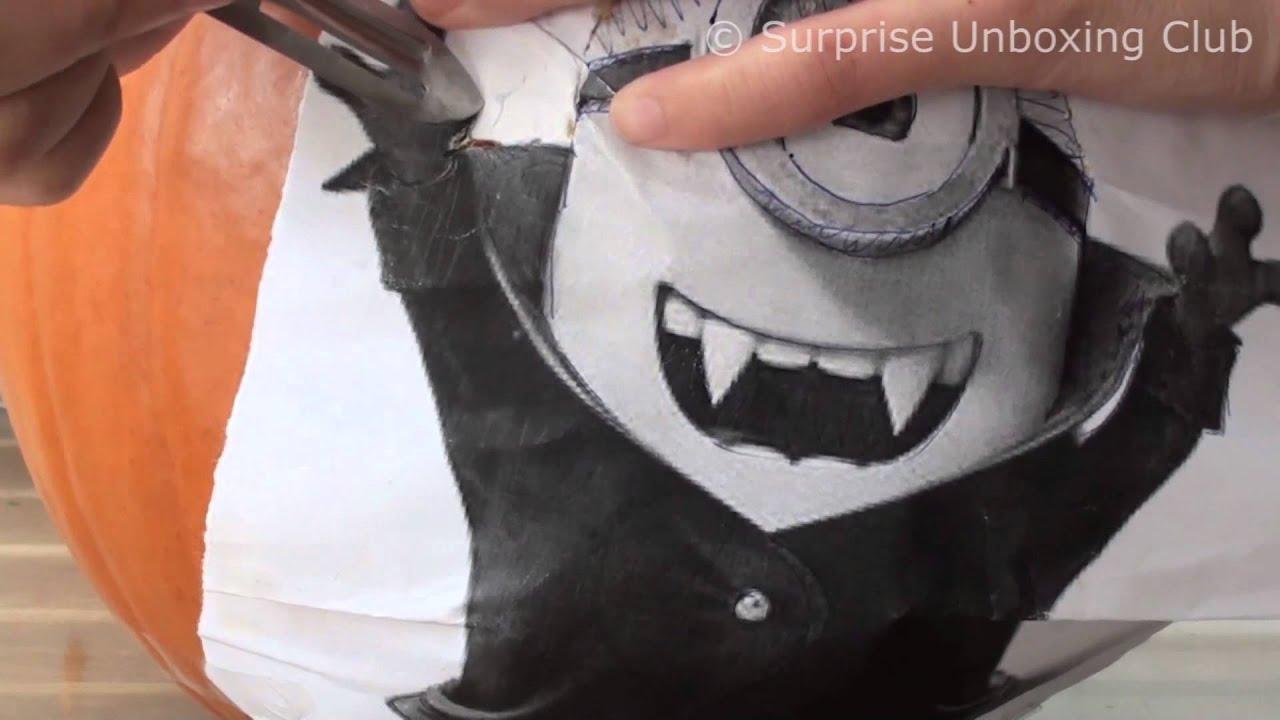 DIY Minions Pumpkin Head UNCUT - How to carve a pumpkin step by step ...