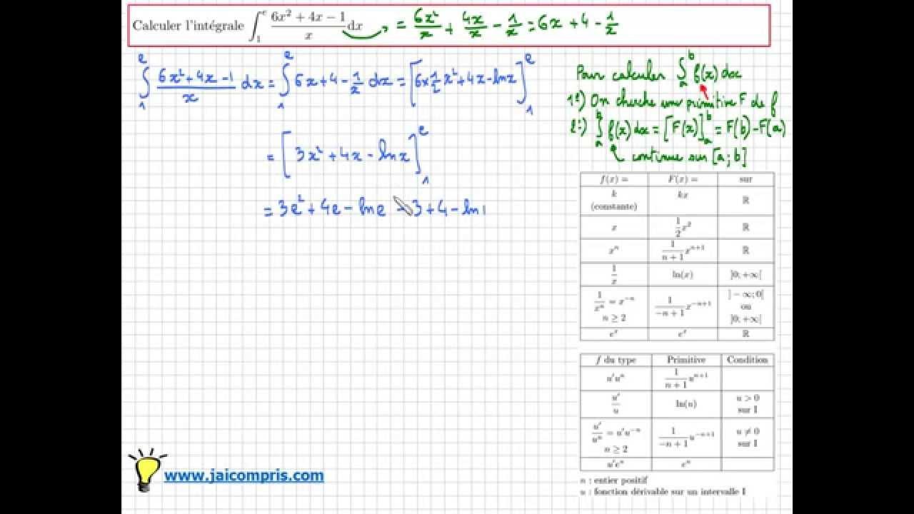 intégrale d'une fonction Maths : calcul de l'intégrale de ...