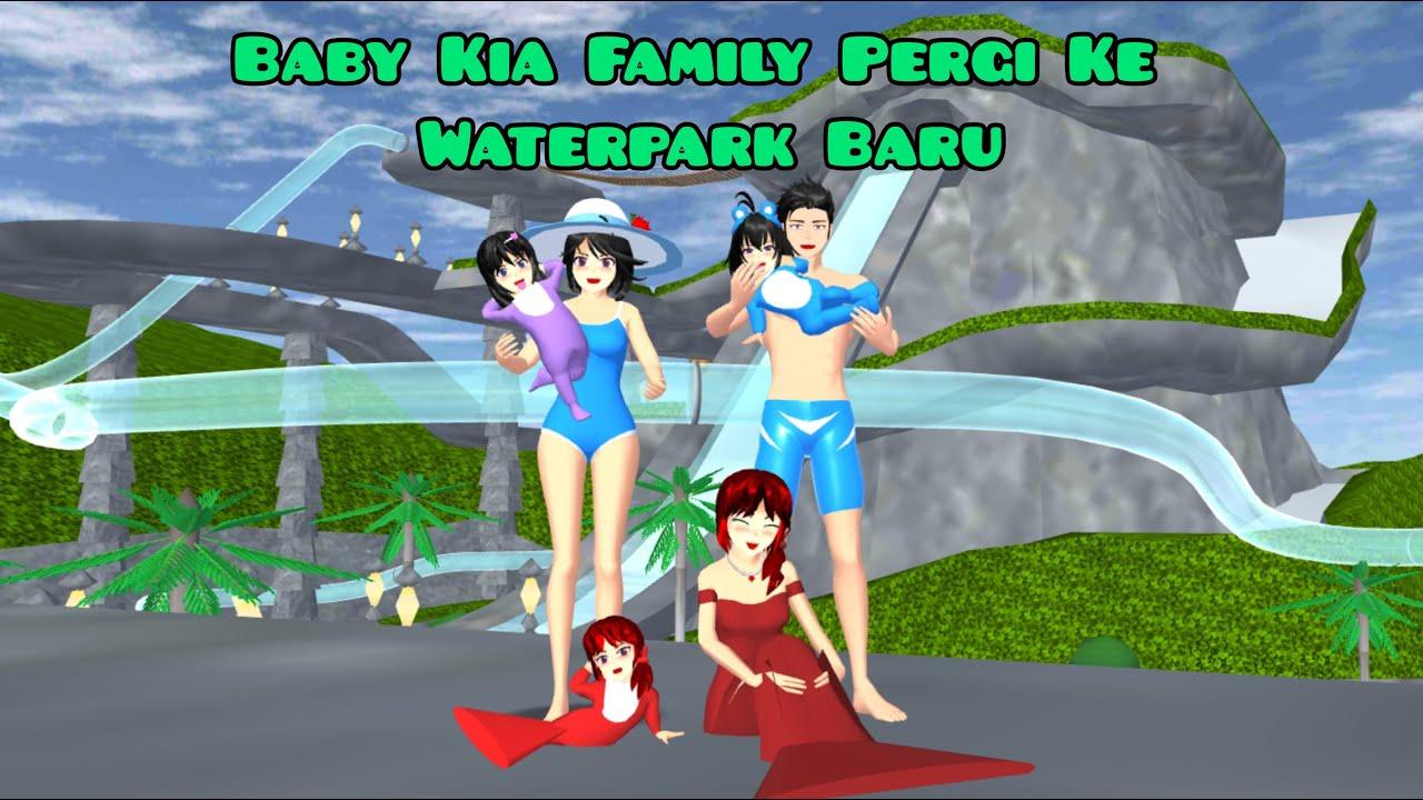 Baby Kia Family Pergi Ke Waterpark Baru   Ica Alwi Family Vlog   Drama Sakura School Simulator
