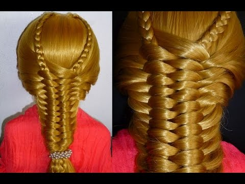 Прическа в школу с плетением  на длинные и средние волосы