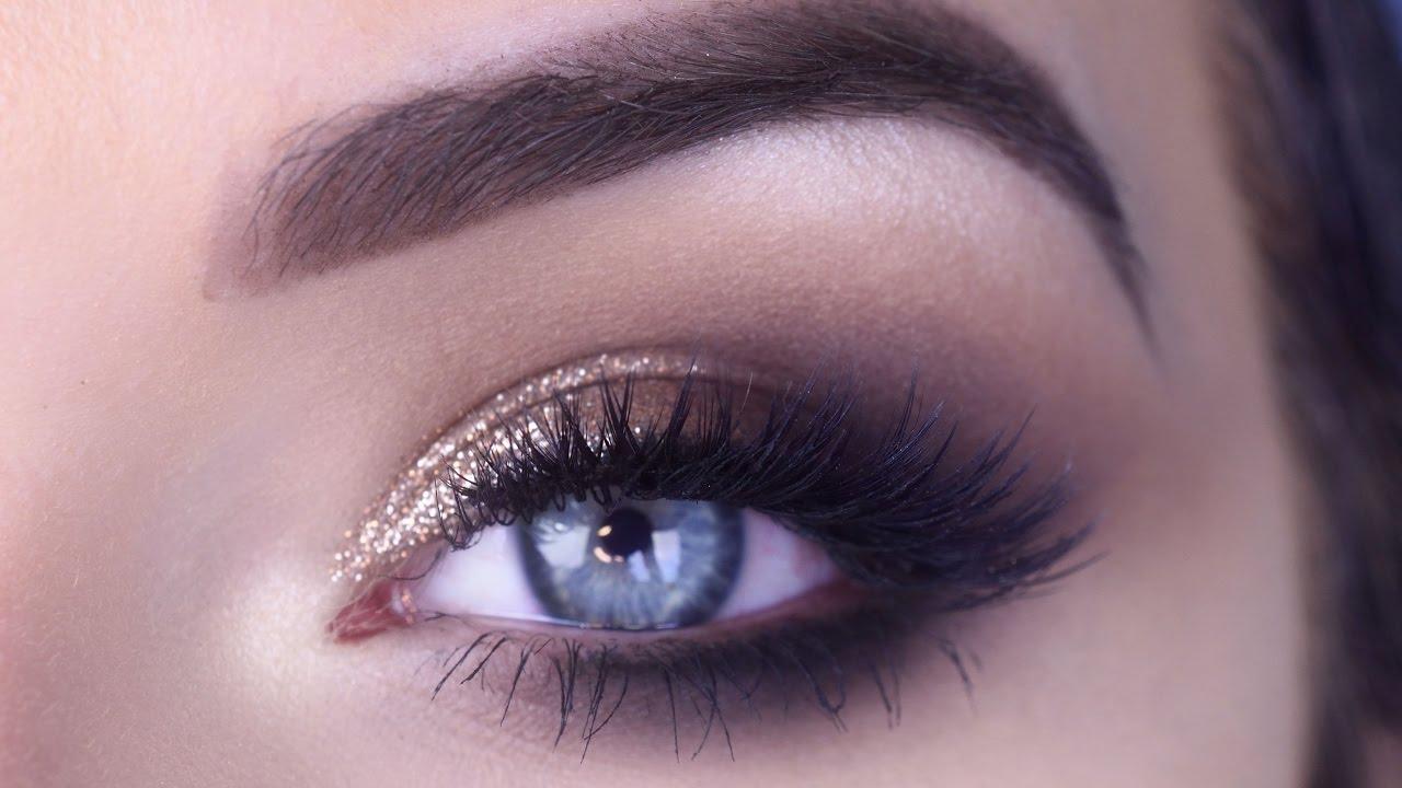 easy prom eye makeup tutorial   bronze glitter smokey eye